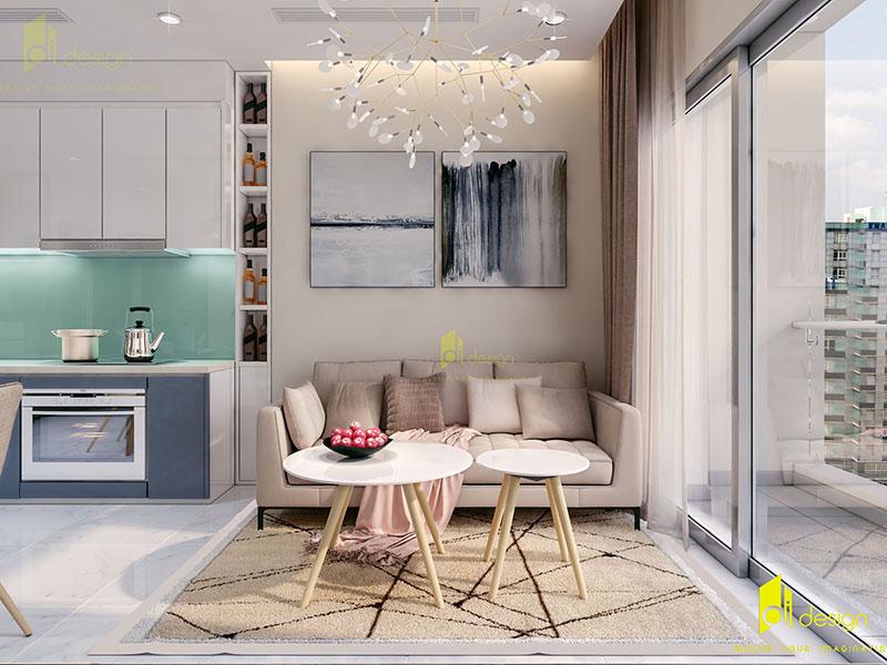 Thiết kế nội thất căn hộ Vinhomes 63m2 đẹp