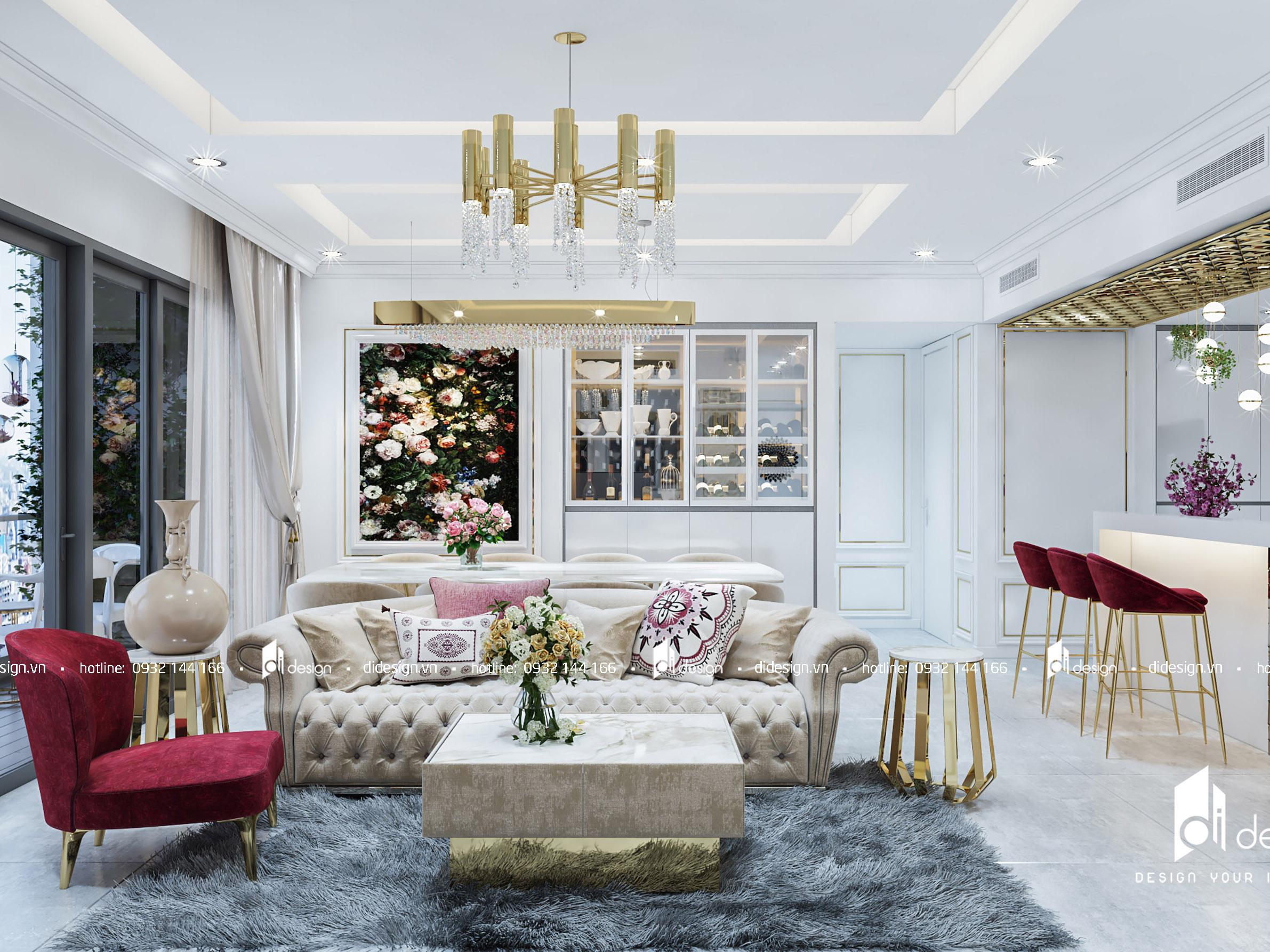 Thiết kế nội thất căn hộ Gateway Thảo Điền 120m2 phong cách tân cổ điển