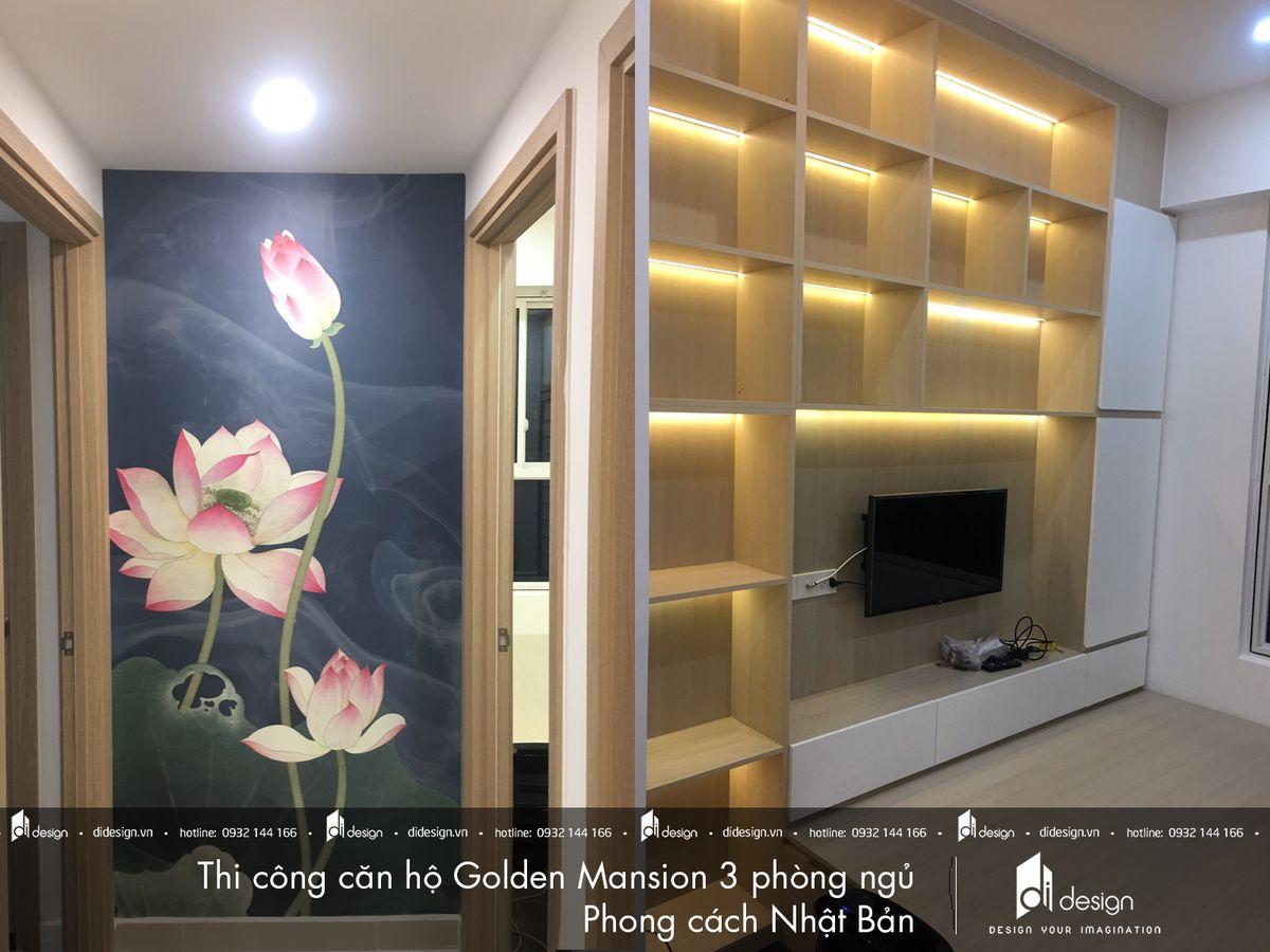 Thi công nội thất căn hộ Golden Mansion 100m2 3 phòng ngủ