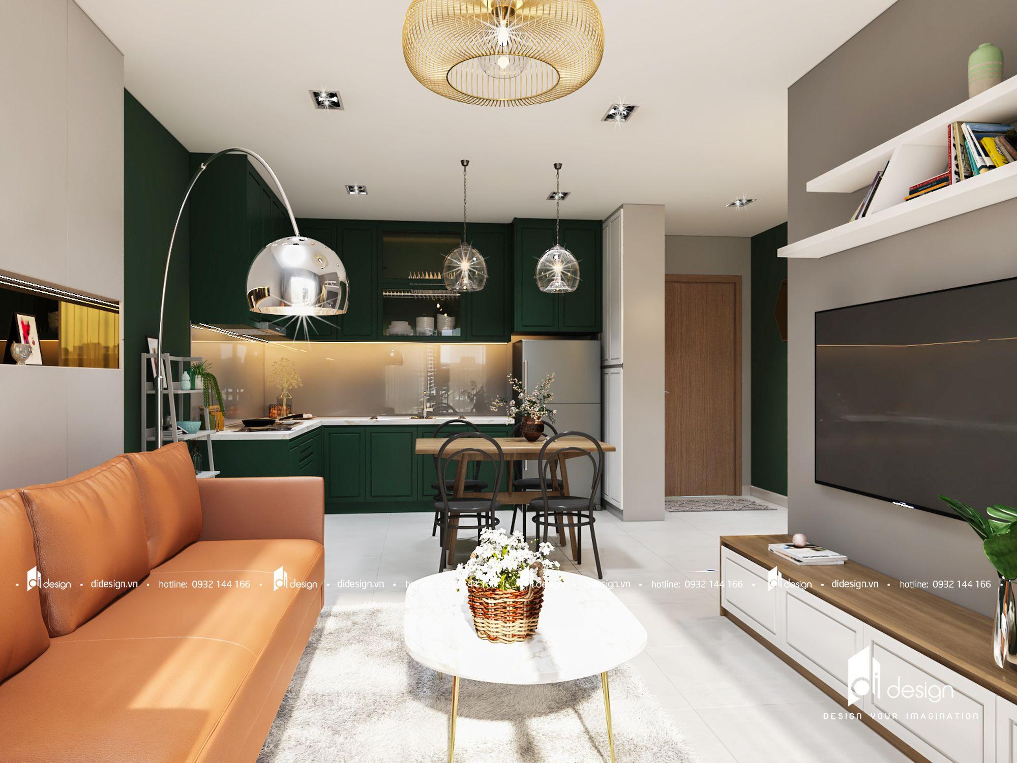 Thiết kế nội thất căn hộ Flora Novia 74m2 2 phòng ngủ