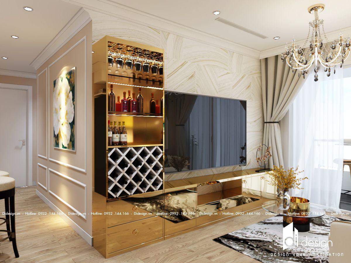 Thiết kế nội thất căn hộ Conic Riverside 72m2 tân cổ điển sang trọng, thanh lịch.