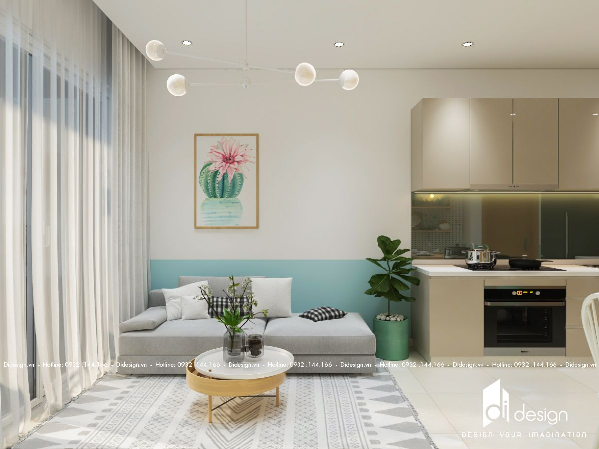Thiết kế nội thất căn hộ River Panorama 90m2 đẹp, không gian sống yên bình