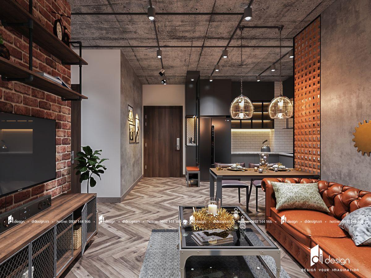 Thiết kế căn hộ Hado Green Lane 72m2 phong cách công nghiệp đáng mơ ước