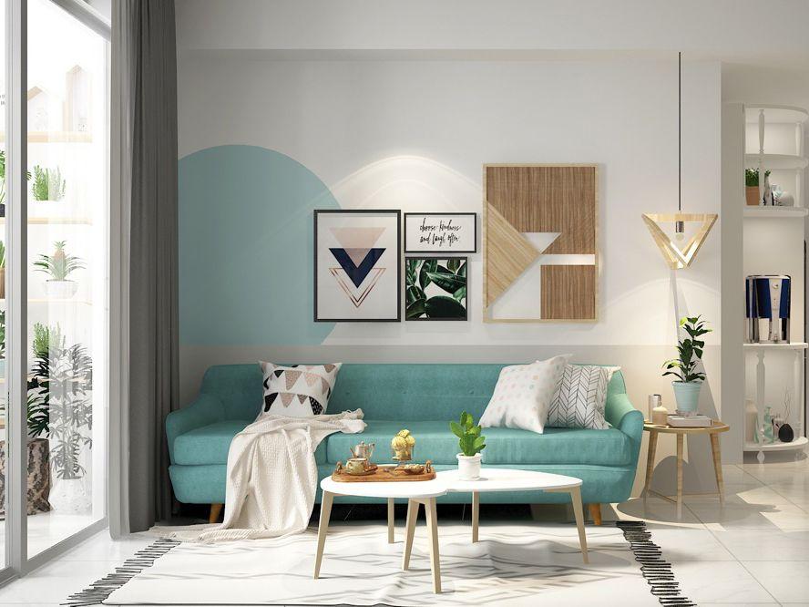 Thiết kế nội thất căn hộ Kingsway 71m2 màu xanh ngọc