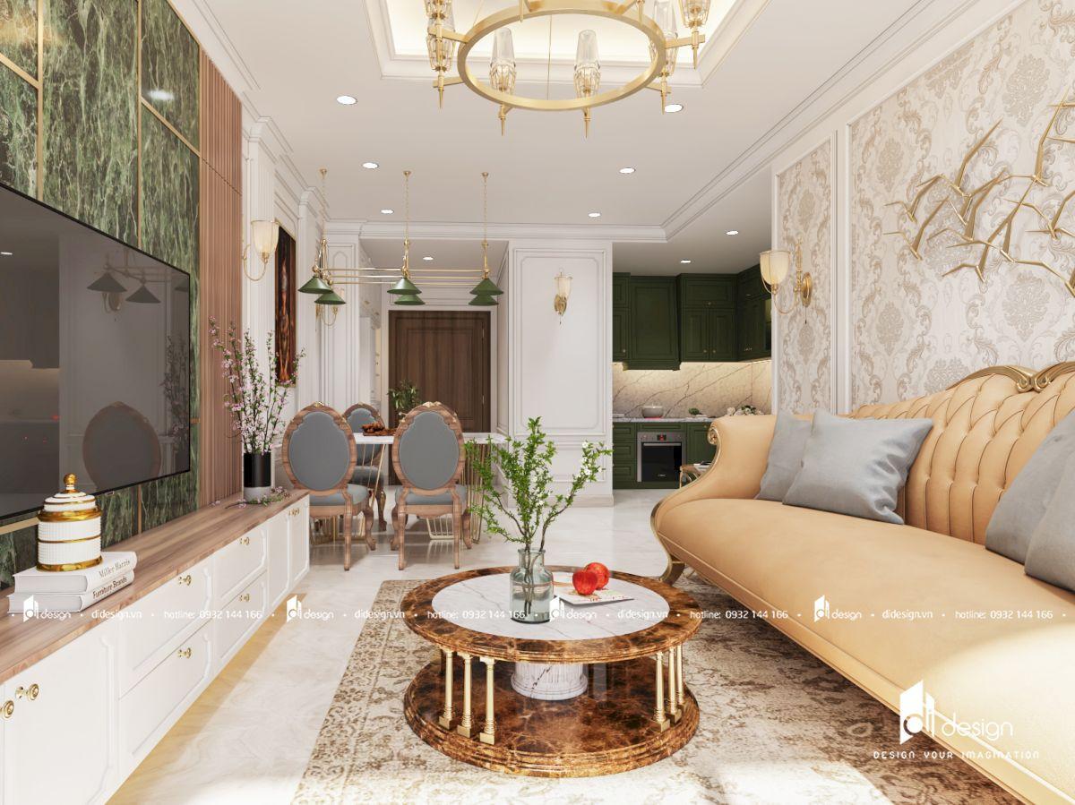 Thiết kế căn hộ Saigon Royal 88m2 tân cổ điển