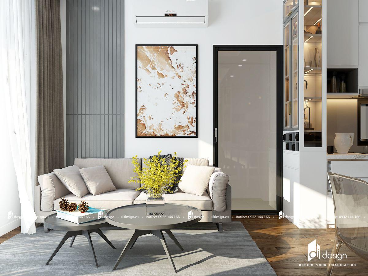 Thiết kế nội thất căn hộ Mizuki Park 86m2 trắng xám