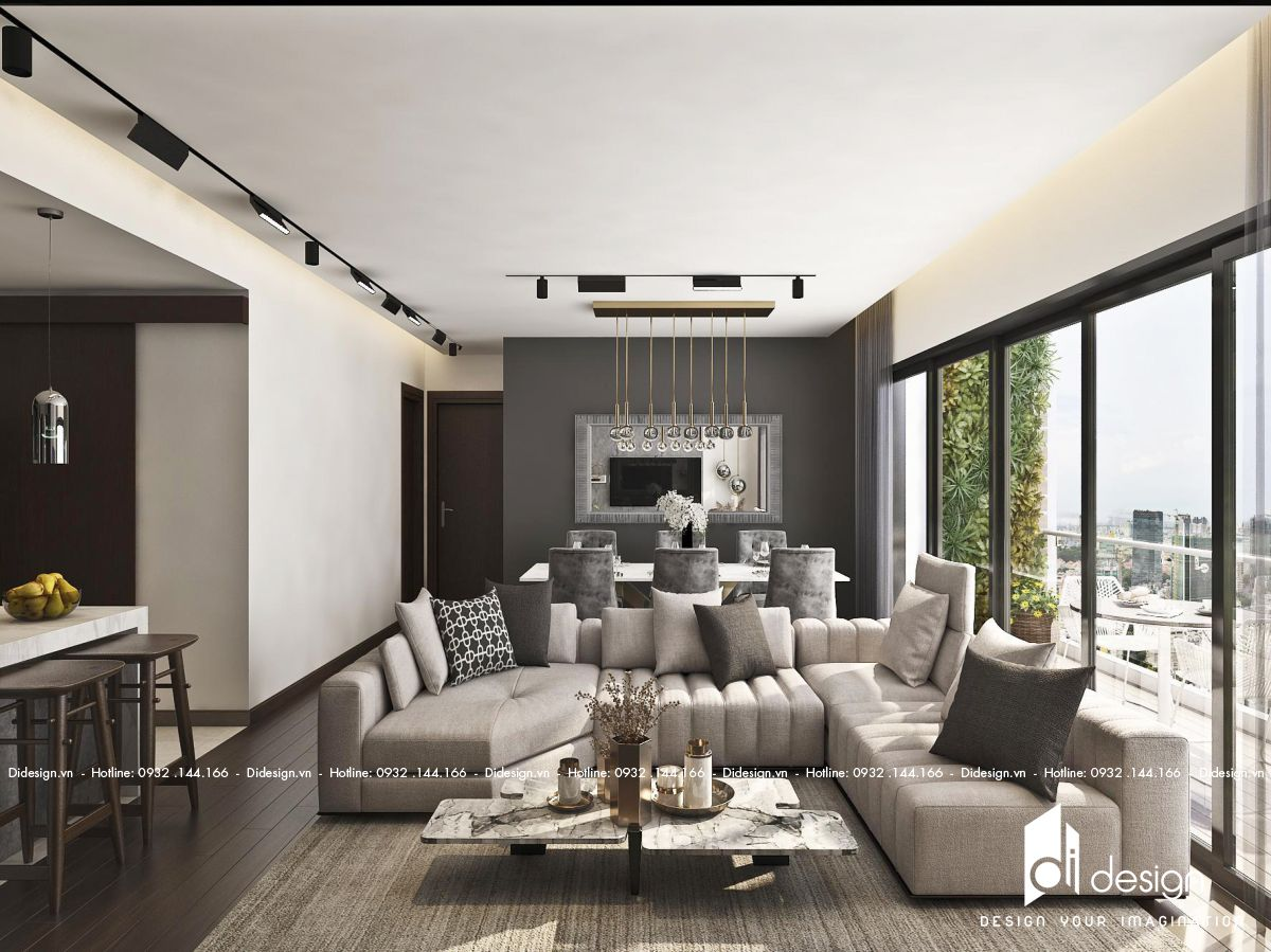 Thiết kế nội thất căn hộ 130m2 D'Edge sang trọng, mạnh mẽ cho quý ông thành đạt.