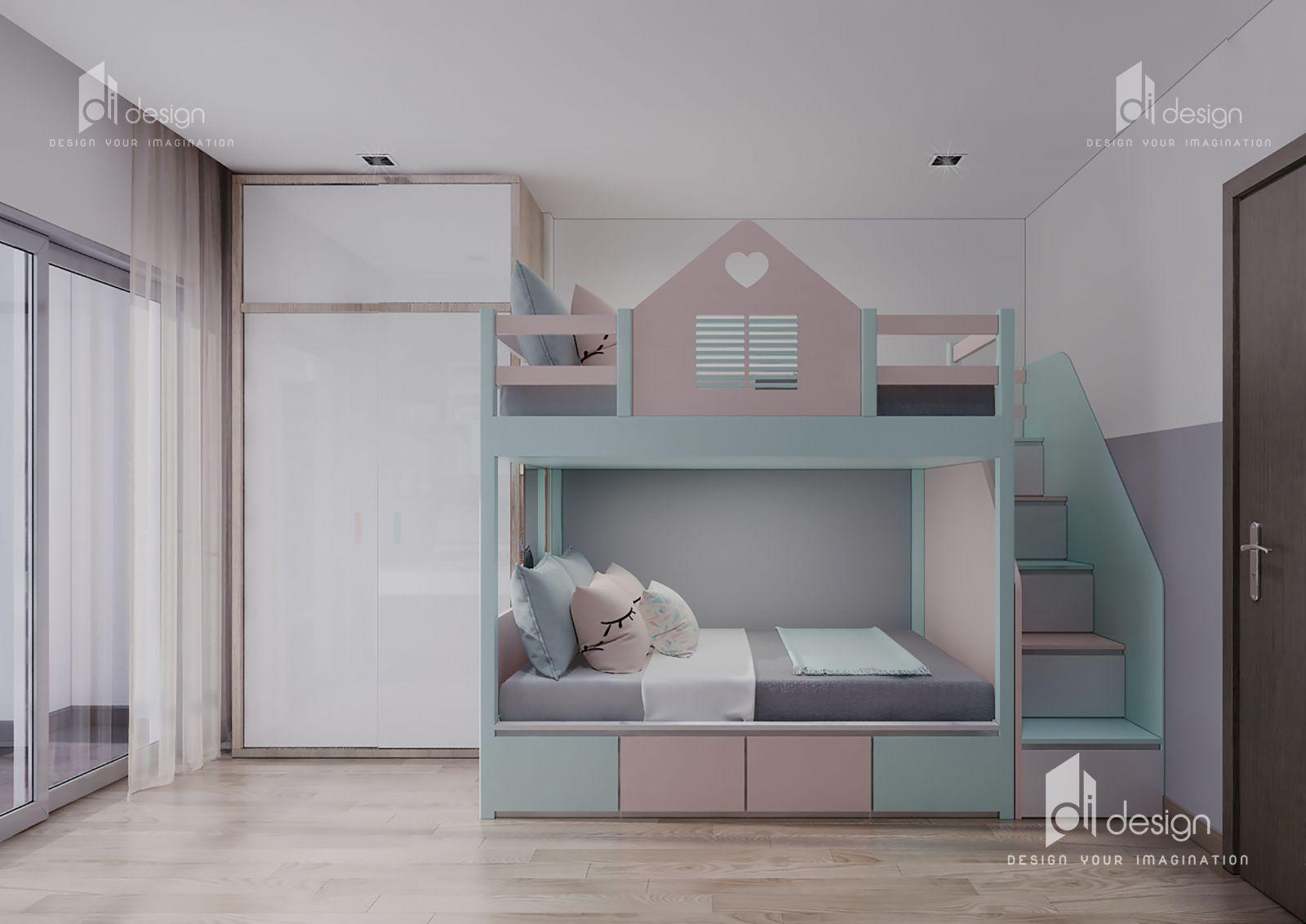 Thiết kế nội thất phòng ngủ bé gái căn hộ Hà Đô Centrosa
